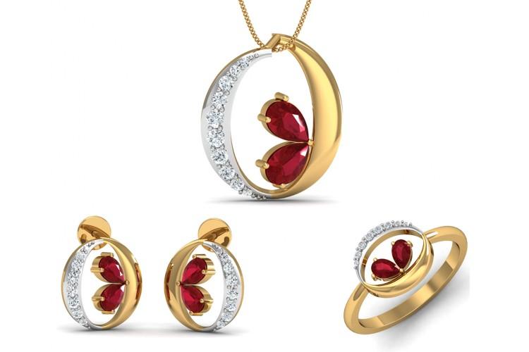 26a679ecf Buy Chiti Ruby Diamond Pendant Set | Endear Jewellery