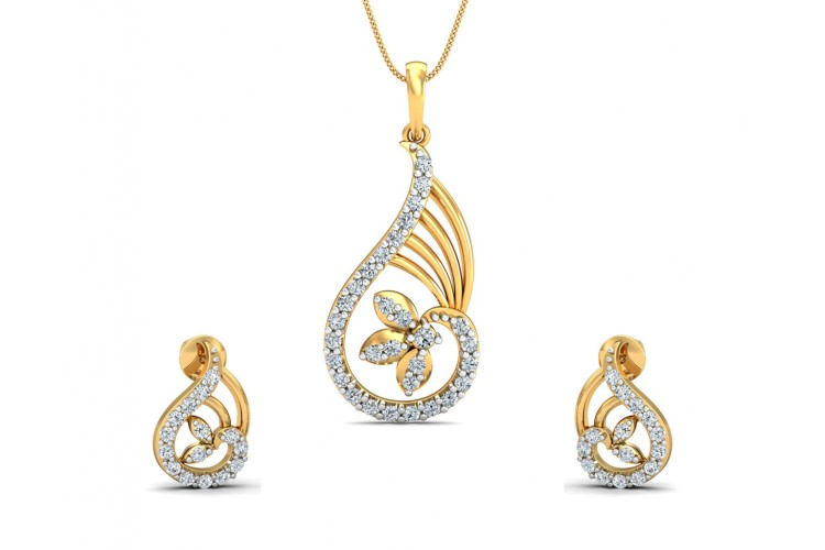 da67e3d6e042a2 Buy Charvi Designer Diamond Pendant Set | Endear Jewellery