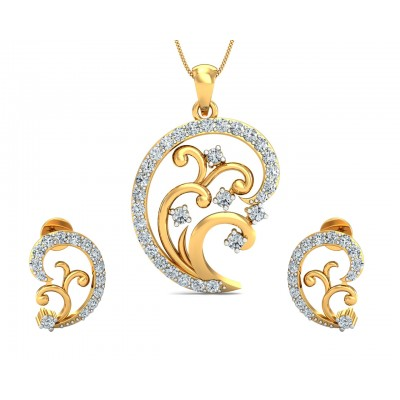 Nawra Diamond Pendant & Earring Set