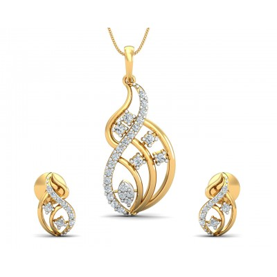 Deena Brilliant Cut Diamond Earring Pendant Set