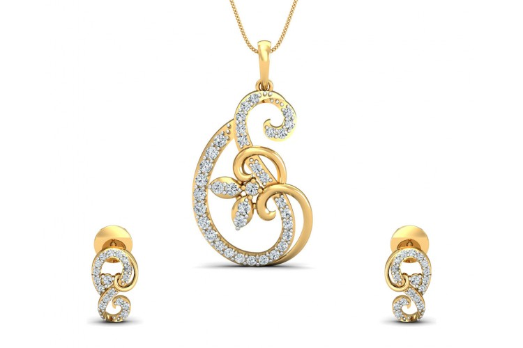 Freya Round Brilliant Diamond Pendant Set