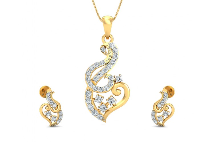Gini Round Brilliant Cut Diamond Pendant Set