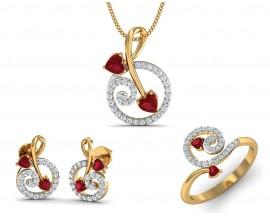 Buy tarini blue sapphire diamond pendant set endear jewellery rida ruby diamond pendant set aloadofball Image collections
