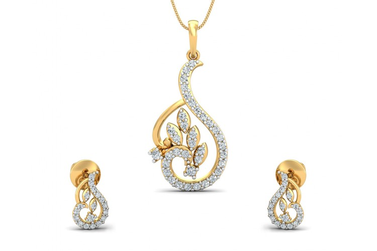 Gail Round brilliant Diamond Pendant & Earring Set