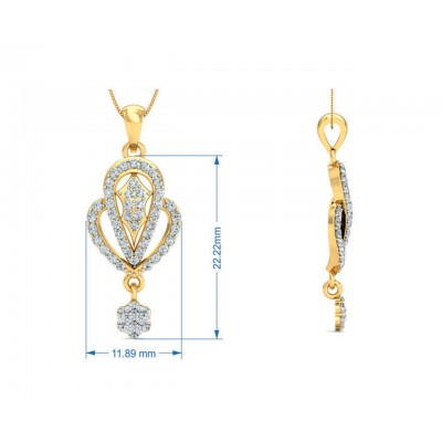Penne Round Brilliant Diamond Pendant Set