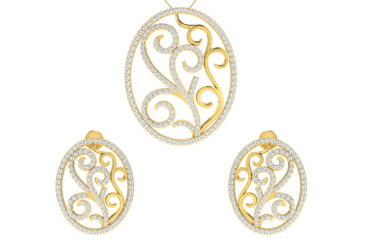 Celeste Diamond Pendant Earring Set