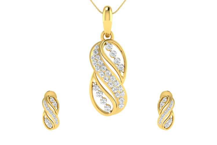 Celina Diamond Earrings Pendant Set