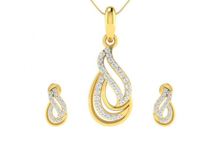 Caylin Diamond Pendant & Earrings Set