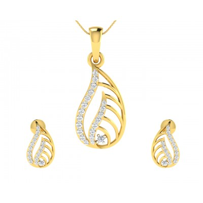 Leza Diamond Pendant & Earrings Set