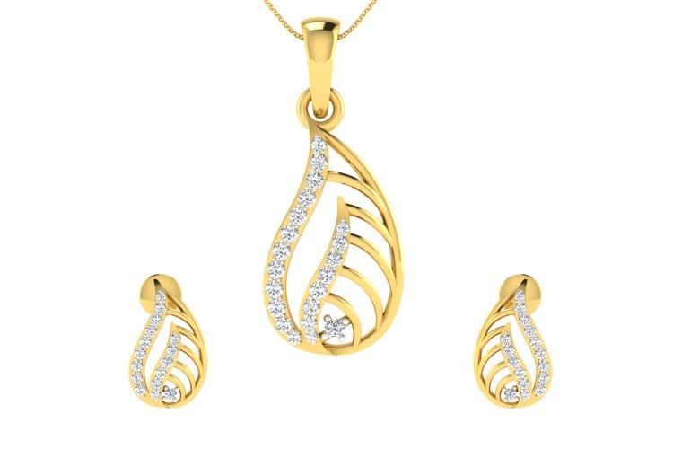 Leza Diamond Pendant Earrings Set