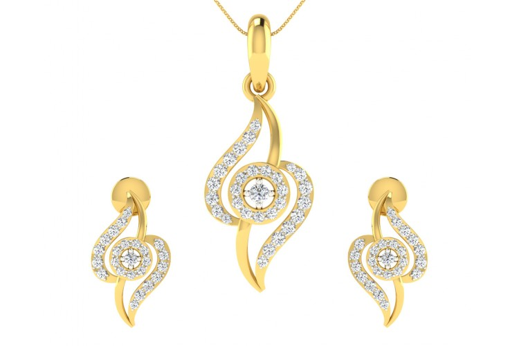 Jia Diamond Earrings & Pendant set