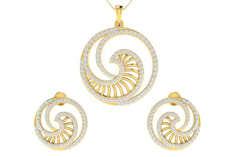 Emel Diamond Earrings Pendant Set