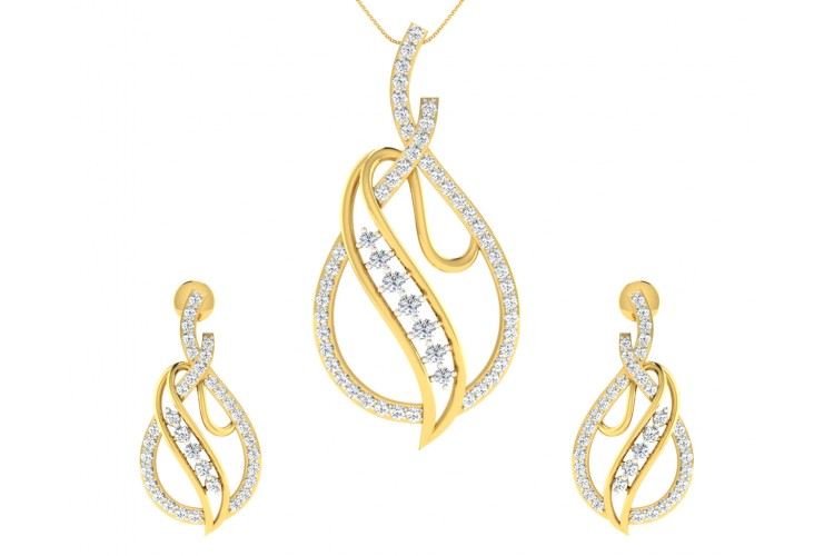 Eliza Diamond Pendant Earrings Set Endear Jewellery