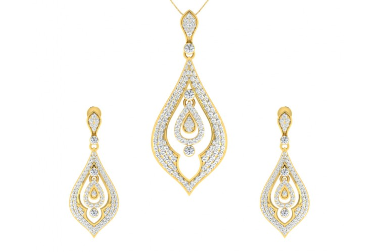 Nomi Brilliant Diamond Pendant Earrings Set Endear Jewellery