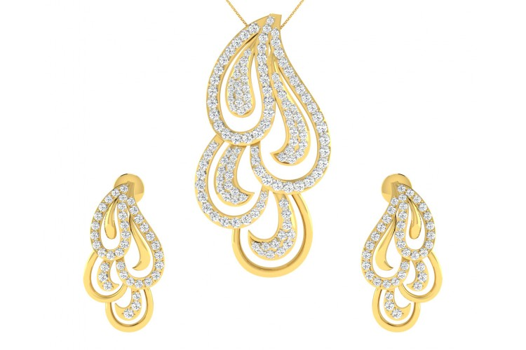 Pamela Diamond Pendant & Earrings Set