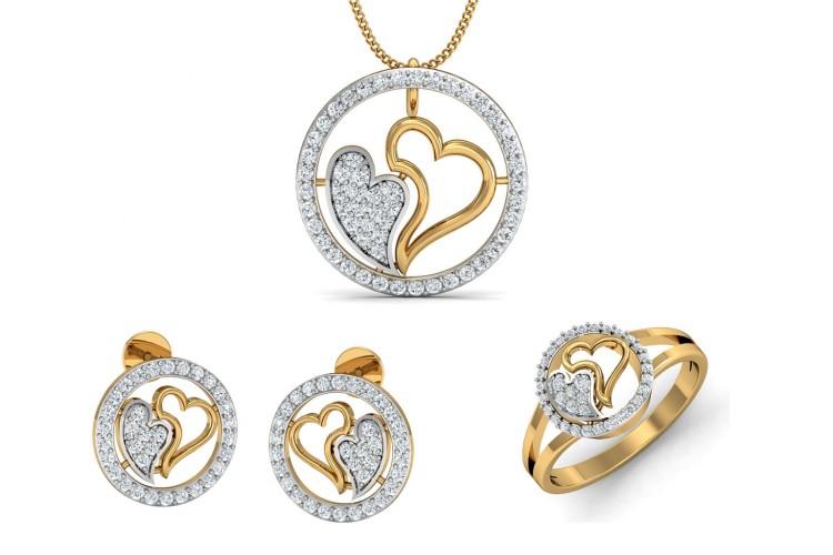 Buy samra diamond hearts pendant set endear jewellery samra diamond hearts pendant set mozeypictures Images