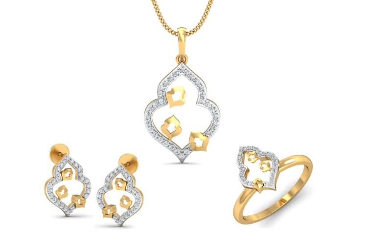 1b0ef6e5e Buy Ella diamond Pendant set in Gold | Endear Jewellery