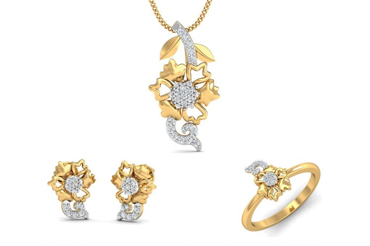 16d4017185a706 Flora designer diamond pendant, ring & earring set in 14k hallmarked gold