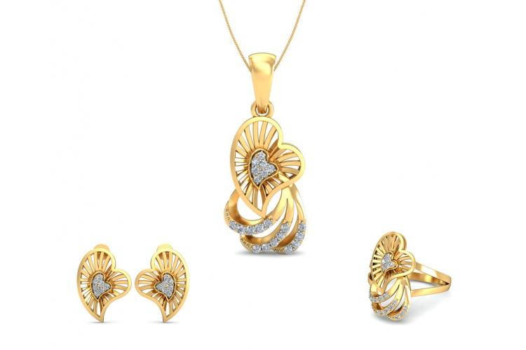 Urith Heart Design Pendant Set with diamonds in 14k gold