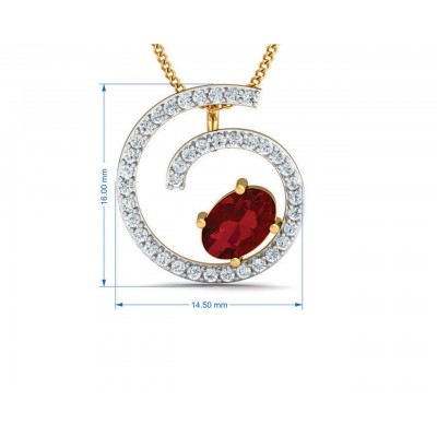Verica ruby Pendant, Earring & Ring Set in Gold with diamonds