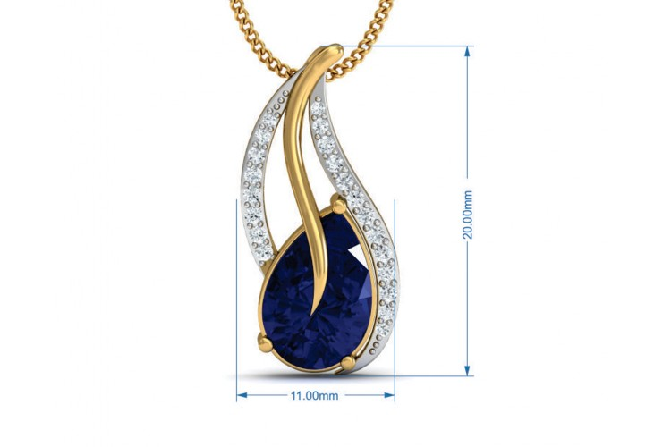 Sary Blue sapphire & diamond pendant, ring & earring set in gold