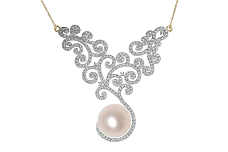 pendant american pearl necklace diamond cultured