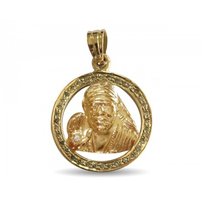 Auspicious Sri Sai Baba pendant in 14k gold with diamonds