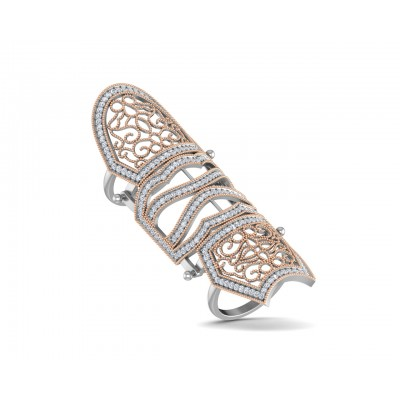 Rany diamond full finger ring in gold with movable parts