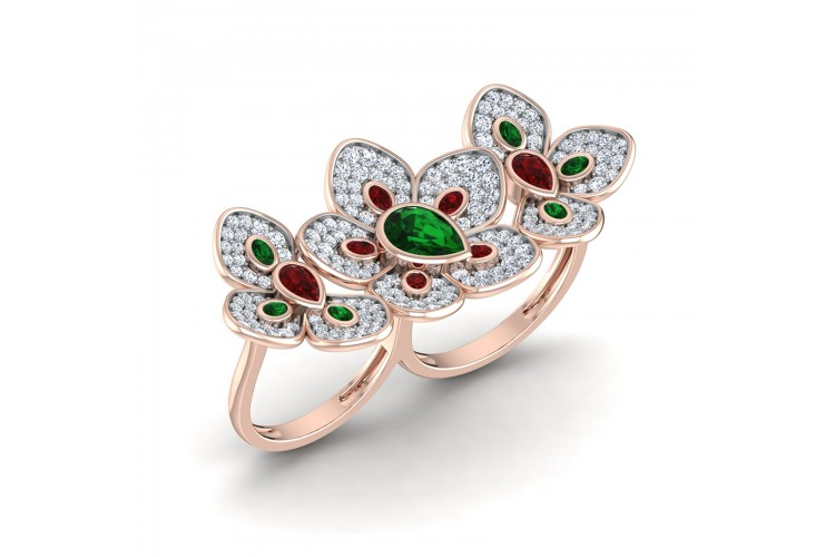 Remy Double finger Ring in Gold with diamonds, ruby & emerald