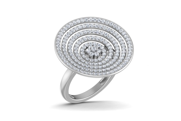 Seka Diamond Concave Cocktail Ring in gold