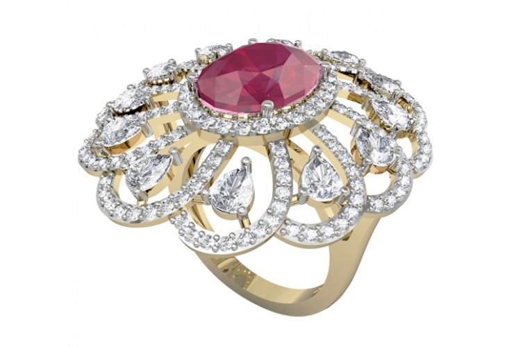 Enticing Ruby Diamond Cocktail Ring
