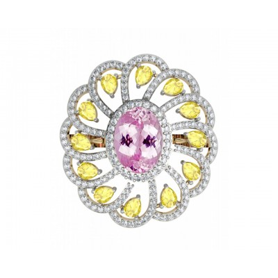 Ethereal Kunzite & Yellow sapphire cocktail ring