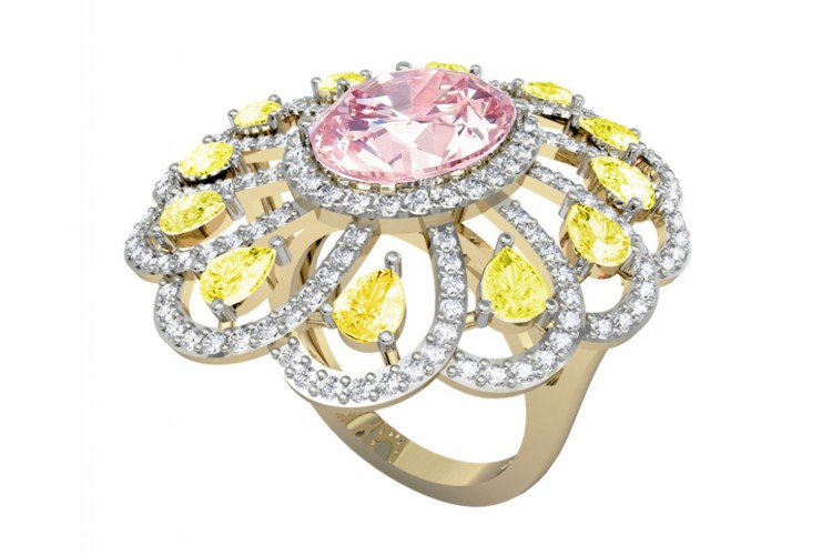 393f42e00c8a7 Ethereal Kunzite & Yellow sapphire cocktail ring