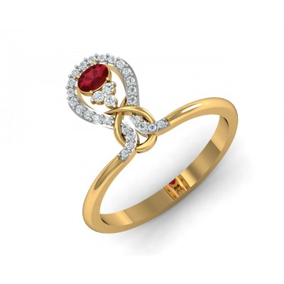 Lara Ruby Diamond Ring in Gold