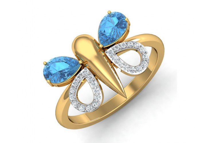Asmara Blue Topaz & Diamond Ring