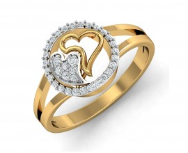 Samra Diamond Hearts Gold Ring