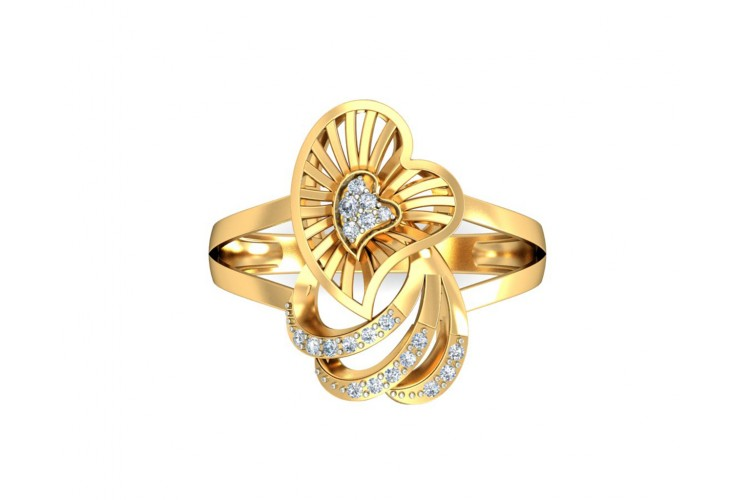 Urith heart ring in gold with diamonds