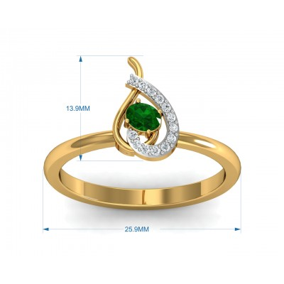 Sely Emerald & diamond ring in hallmarked gold