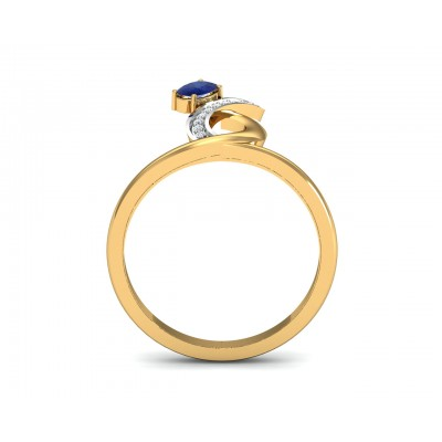 Rami Blue Sapphire & Diamond Ring in Gold
