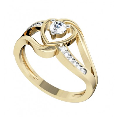 Romantic Solitaire Diamond Heart Ring