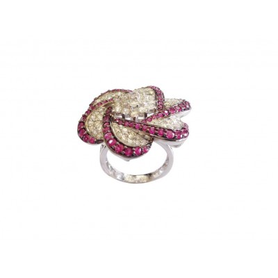 Ruby Diamond Cocktail ring in Gold