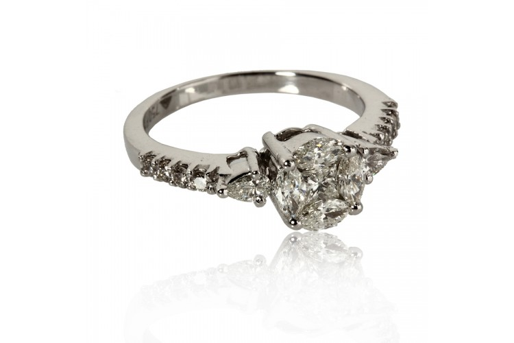 Diamond Solitaire Look Ring in Gold