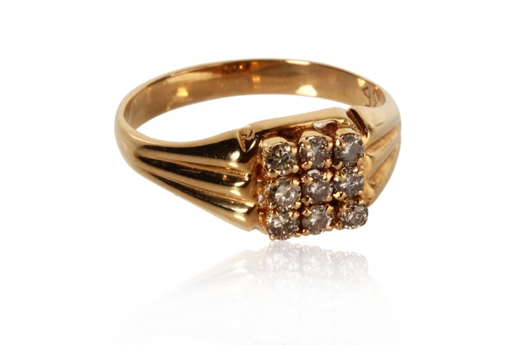 Gold Gents Ring With Diamonds