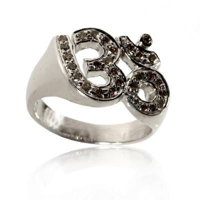 Om Ring In Silver With Diamond