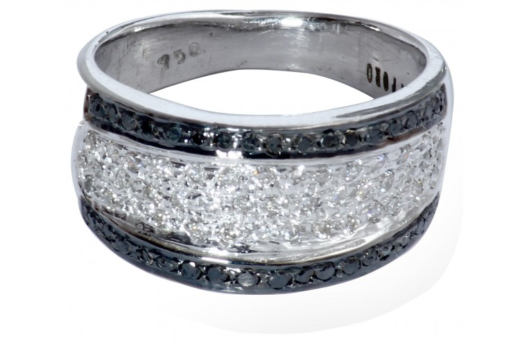 Buy Diamond Ring with Black & White Diamonds line in India at