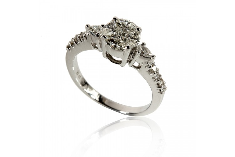 Buy Diamond Solitaire Look Ring in Gold line in India at Best
