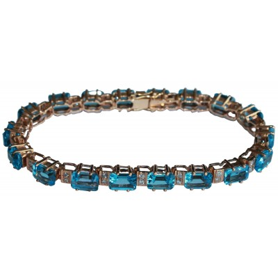 Blue Topaz & Diamond Bracelet