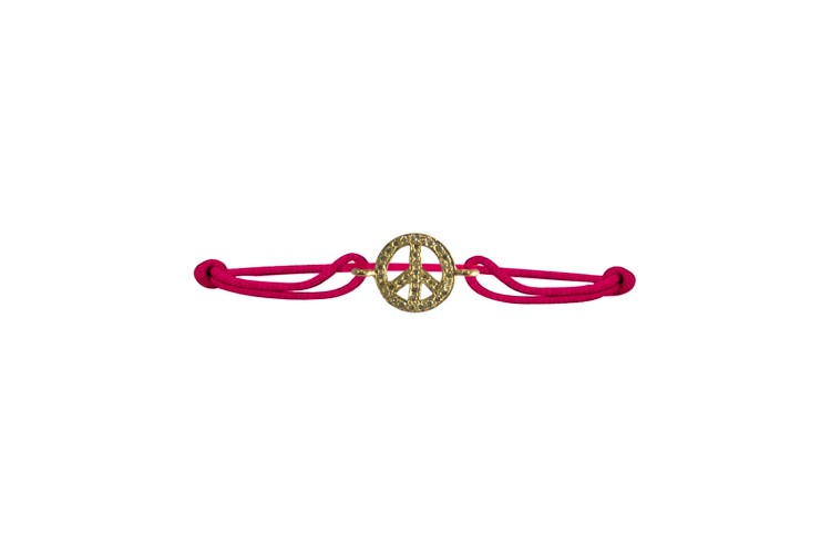 Peace sign bracelet in gold with diamonds