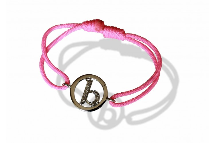 Alphabet b Bracelet in lower case set in 925 silver with diamonds on size adjustable nylon thread