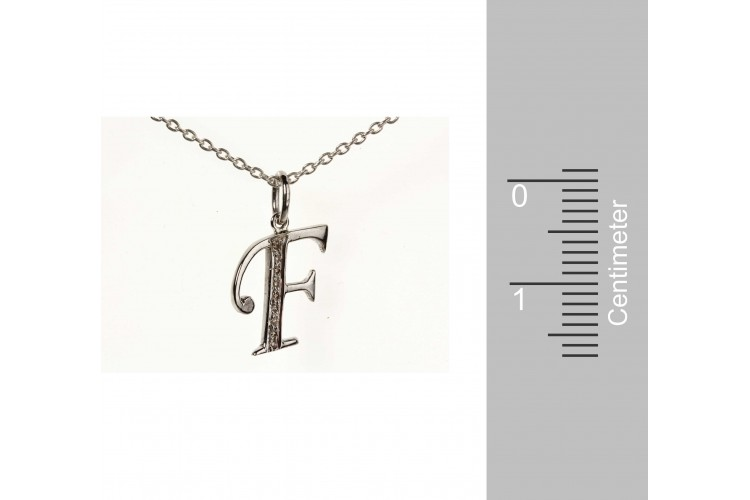 Alphabet F pendant with diamonds
